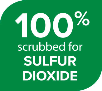 100% scrubbed for SULFUR DIOXIDE
